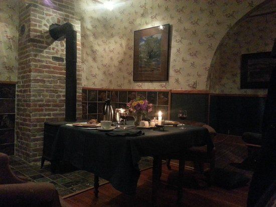 Abe's Spring Street Guest House:                                     Honeymoon/Anniversary meal table set-up