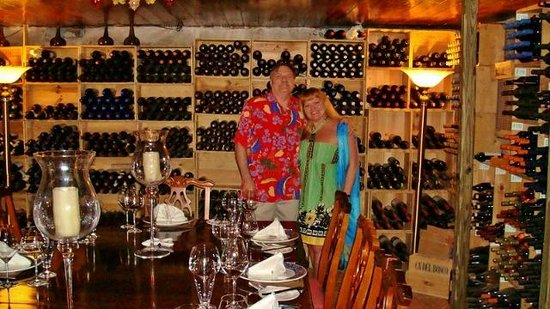 Graycliff Hotel: My wife and I in the wine cellar dining area