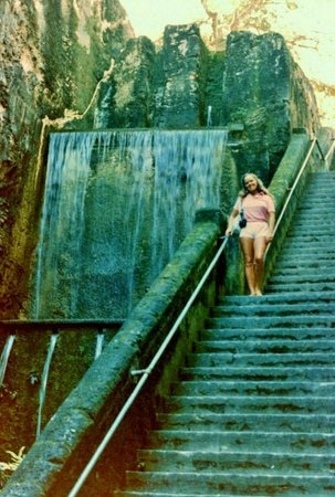 My wife on Queen's Staircase in Oct. 1985