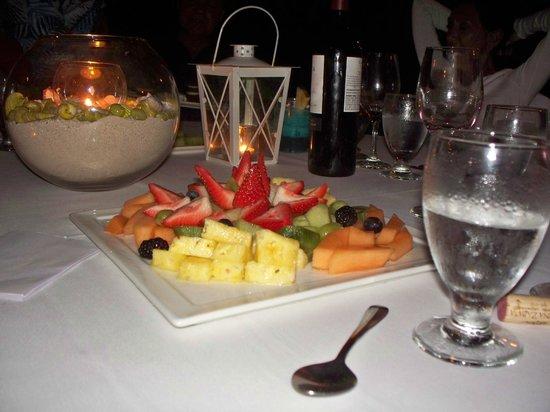 Dinner by Torchlight at the Radisson Aruba:                   Fruit platter