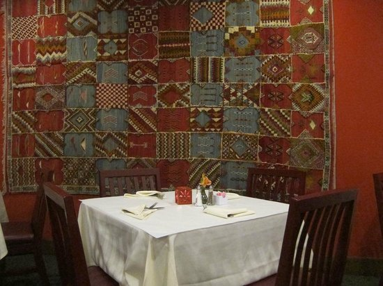 Marrakesh Restaurant:                   Rug on wall