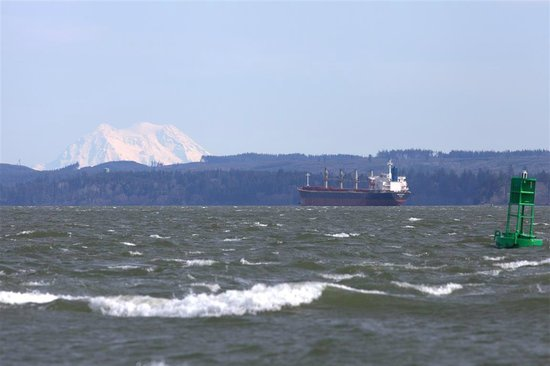 Ocean Shores North Jetty:                   Cargo ship entering harbor w/Mount Rainier