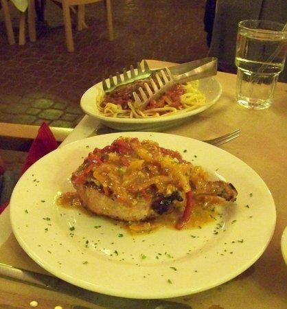 Alphys Basque Chateau: Pork chop and pasta.