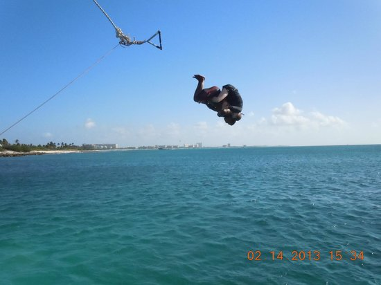 Divi Village Golf and Beach Resort:                   rope swing on Jolly Pirate