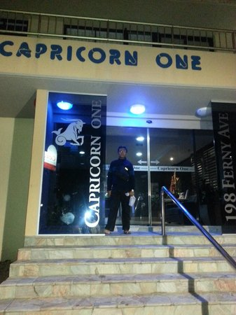 Capricorn One:                   Main door to the reception area