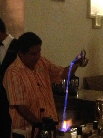 Hotel Riu Emerald Bay:                                     Making specialty drinks outside dining room.