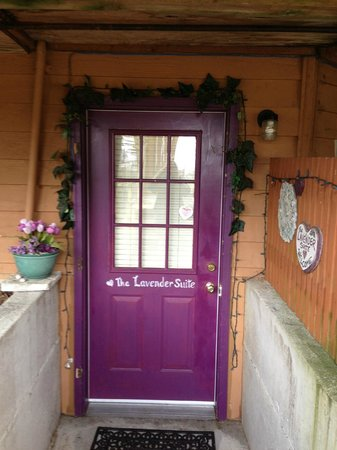 Farmhouse Bed & Breakfast:                   The door to the lavender suite