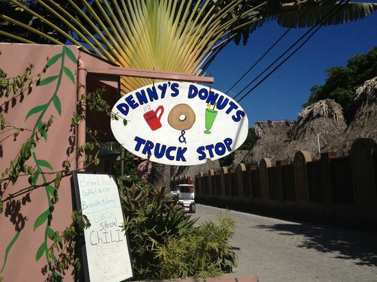 Denny's Donuts and Truck Stop:                                     sign