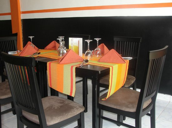 orange country cafe table set up
