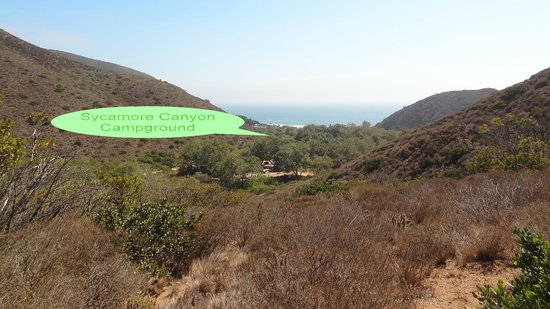 Sycamore Canyon Campground:                   Campground and ocean beyond