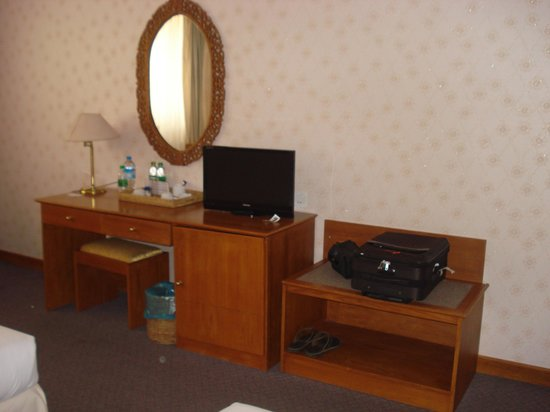 Central Hotel Yangon:                   Writing table with TV
