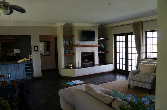 Fynbos Ridge Country House & Cottages:                   Fireplace in our living room
