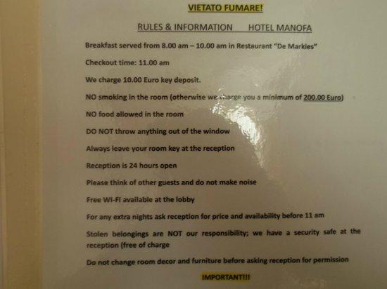 Hotel Manofa:                                     chambre
