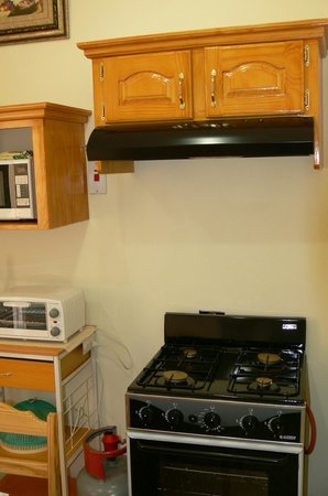 Travel Suites Ltd : Self Contained Apartment/Suite 5 Kitchen. Apartment 5 has a 4 burner gas stove and oven.