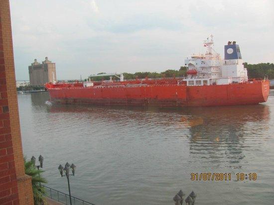 Savannah Visitors Center:                   Barge bring goods into Savannah