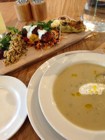 River Cottage Kitchen:                                     Vegetable platter & celeriac and apple soup.