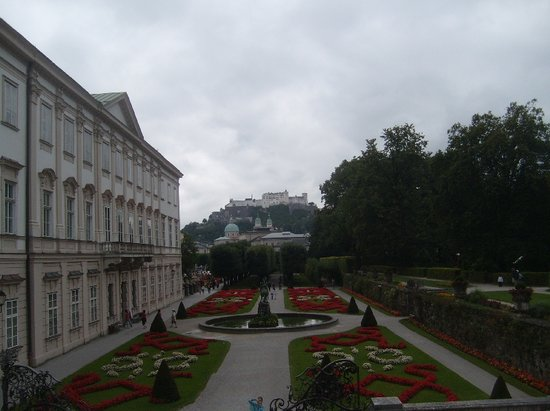 JUFA Hotel Salzburg City:                   view from Mirabell Castle (Fortress Hohensalzburg in the background)