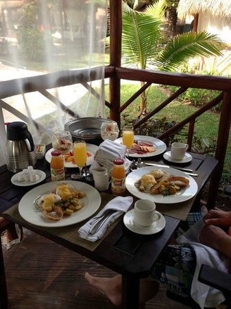El Dorado Casitas Royale, by Karisma:                   Our anniversry breakfast served on our patio.