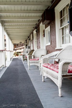 Gunn House Hotel:                   Front porch, a  nice place to sit and relax after a long day.