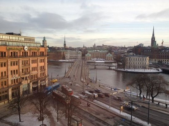 Sheraton Stockholm Hotel:                   view from room looking onto the front side