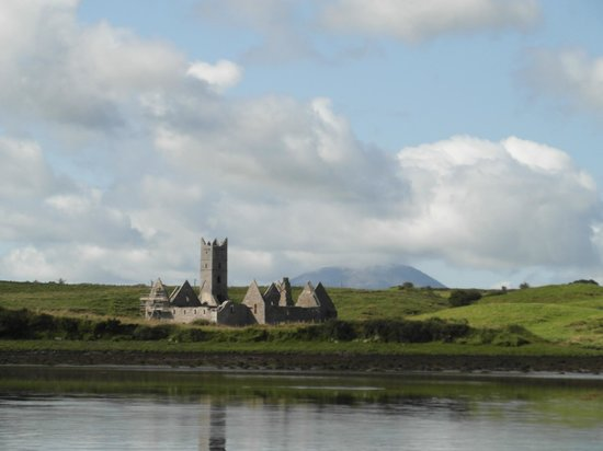 Enniscrone Village:                   Roserk Abbey & Nephin from the Moy