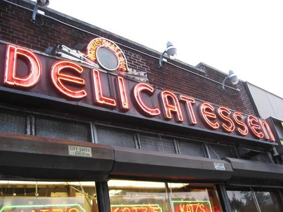 Delicatessen in neon lights as 2nd half of restaurant title - Picture of Katz's Deli, New York ...