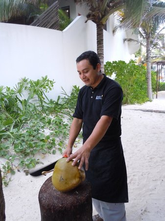 Cabanas Tulum:                   Making our coco loco---GREAT bartender