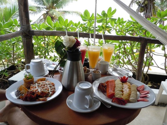 Hotel Cabanas Tulum:                   Anniversary Breakfast on our Balcony