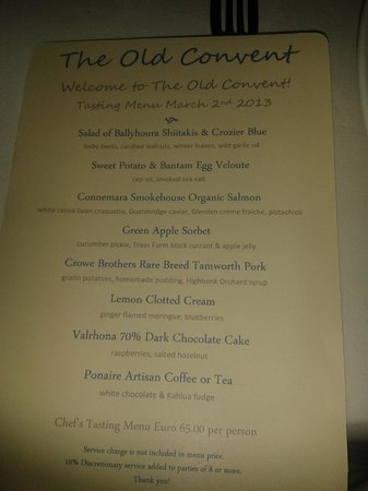 The Old Convent:                   9 Course Tasting Menu