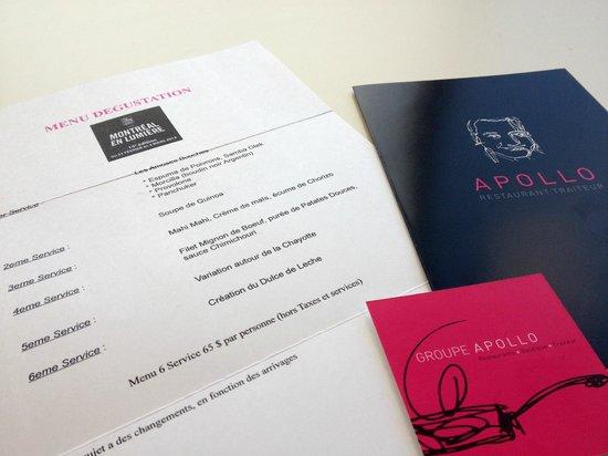 Bistro Apollo Concept :                   Argentinian tasting menu for Montreal en Lumiere