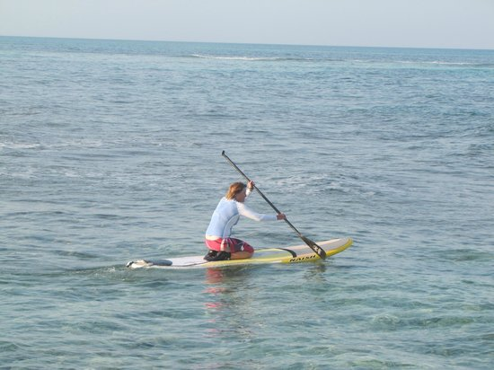 Long Caye Resort:                   Meg on her SUP board