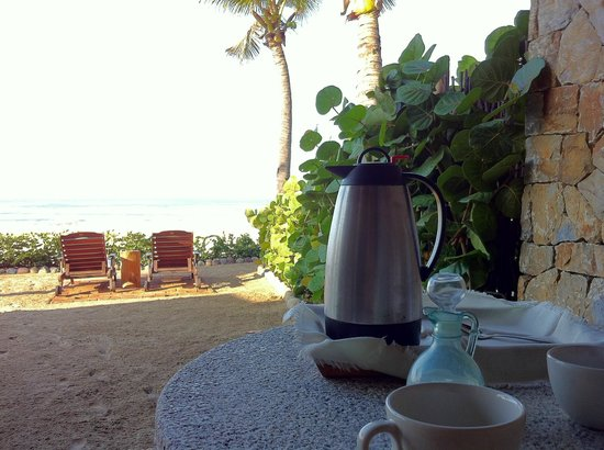 Hotel Las Palmas:                   coffee served in your room on your own private beach area