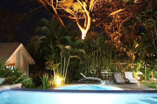 The Breeze:                   Night view of pool.