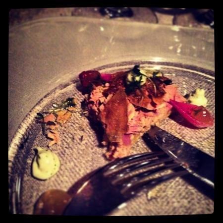 Magnus & Magnus :                   Terrine of foie gras with pork and crispy chicken skin. wonderful red onions w