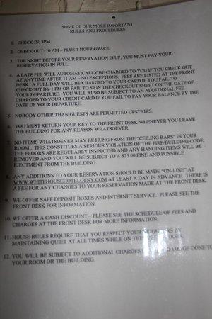 Bowery's Whitehouse Hotel :                   und noch mehr Regeln