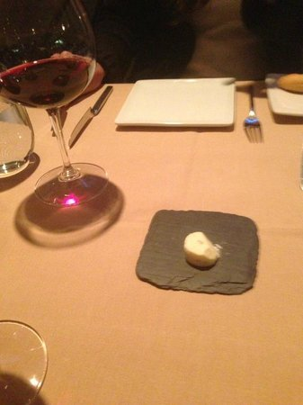 Chiaroscuro : Italian Rosso Piceno and shallot red pepper butter served on a piece of black