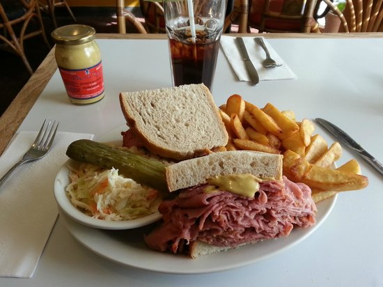Montreal Delicatessen & Family : Montreal Smoked on Rye with slaw and fries. Good selection of mustards.