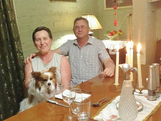 Must Love Dogs B&B & self contained cottage:                   Our candle lit Anniversary Dinner courtesy of Chris and Charles