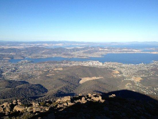 Moto Adventure Tasmania:                   Hobart from Mt Wellington