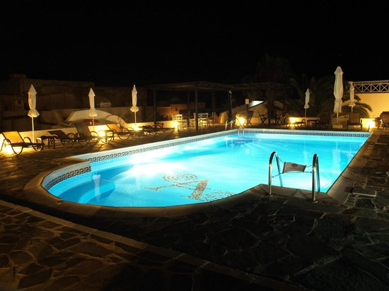 Aethrio Hotel:                                     Pool at night