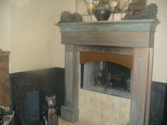 Cat's Meow Bed & Breakfast:                                     see-through fireplace in bath area (seen through living area
