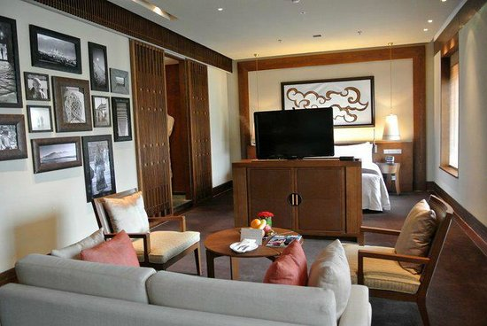 St. Regis Lhasa Resort: you can look at the TV from the sitting room place