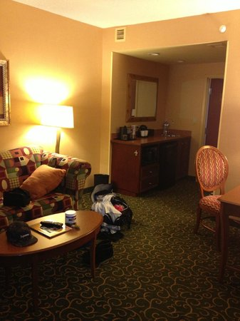 the king suite w sleeper sofa picture of embassy suites. Black Bedroom Furniture Sets. Home Design Ideas