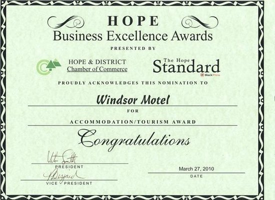 Windsor Motel: Business Excellence Award