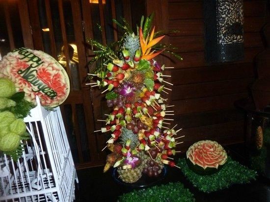Nora Beach Resort and Spa:                   We asked especially for a chocolate fountain with fruit skewers, which they we