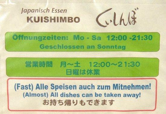Kuishimbo: opening times