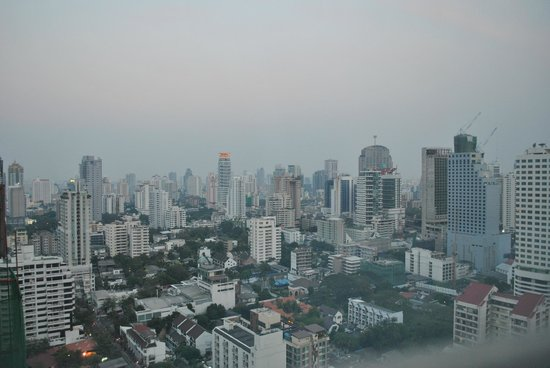 Pullman Bangkok Grande Sukhumvit:                   Sunset view from our bedroom on the 26th floor