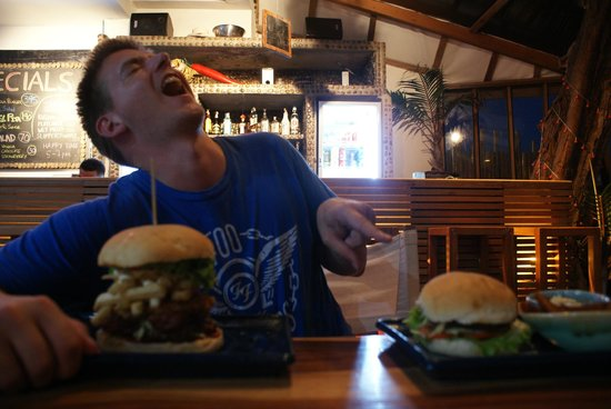 Goodtime Adventures, Koh Tao:                   The Goodtime Adventures' Monster Burger. I laugh at my buddy's regular one