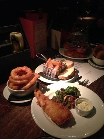 The Town Wall:                   fish and chips with a side of onion rings!