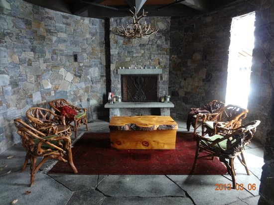 Lake Placid Lodge:                                     Fireplace outside